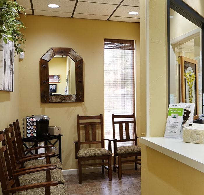 Kerrville Texas dental office waiting area and reception desk